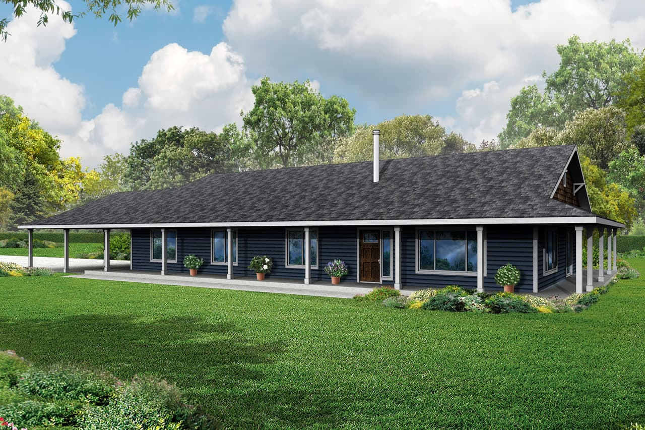 3 Bedroom Country Ranch House Plan With Wraparound Porch