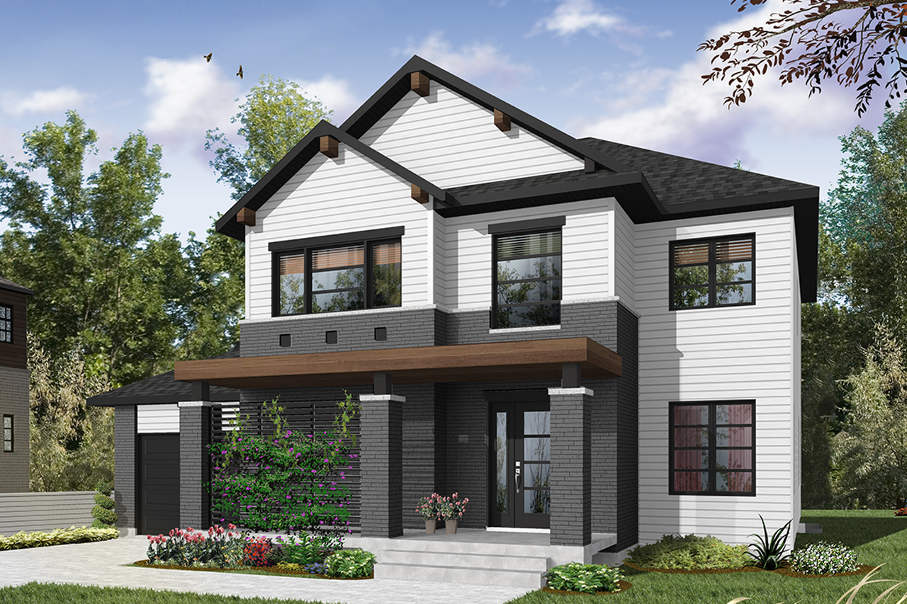 modern house plan lewiston noyo 3 front elevation - Download Modern 3 Bedroom House Plans With Photos  Pics