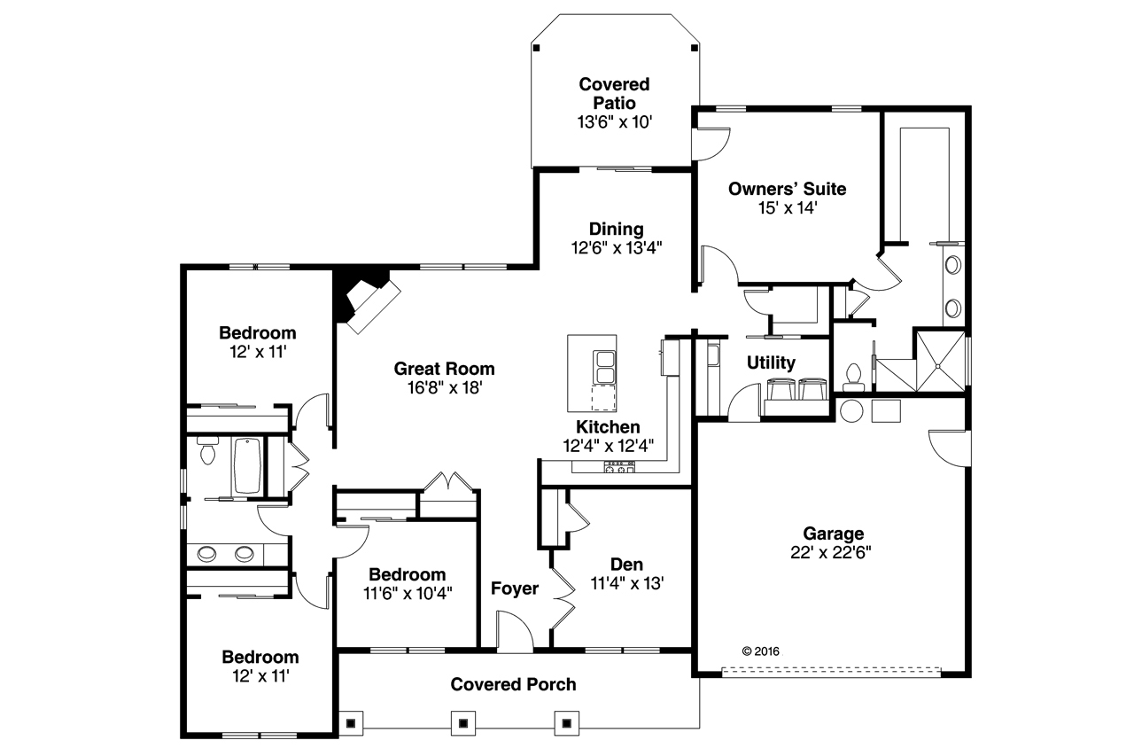 4 bedroom ranch floor plans 4 bedroom traditional ranch home plan with 2 car garage 178