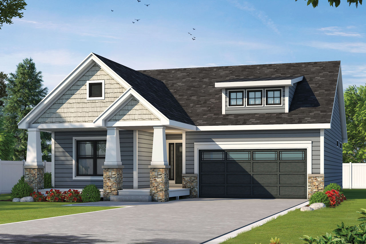 2 Bedroom Craftsman Style Small House Plan with Optional Sunroom