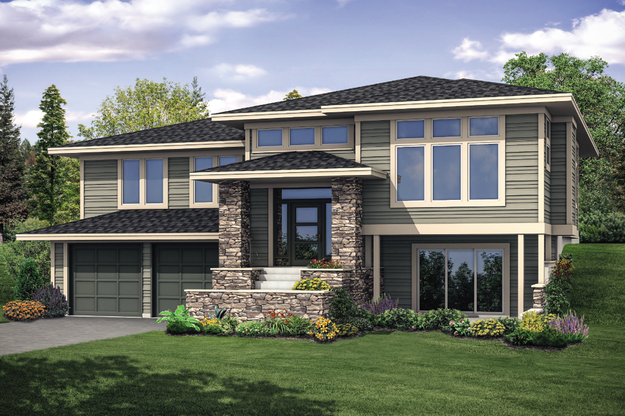 3 Bedroom Contemporary Prairie House Plan with Split Level ... on 2 bedroom split level floor plans, 3 bedroom cottage house plans, 4 bedroom split level floor plans,