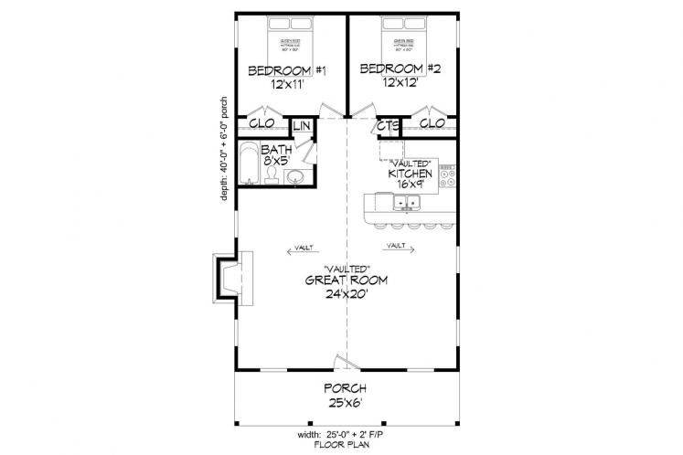 Cottage House Plan -  70012 - 1st Floor Plan