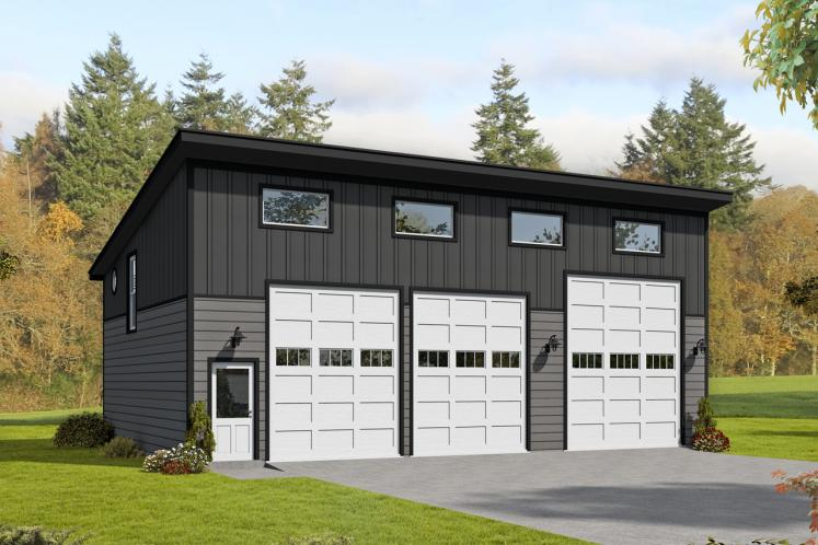 Contemporary Garage Plan - Medicine Hat 81218 - Front Exterior