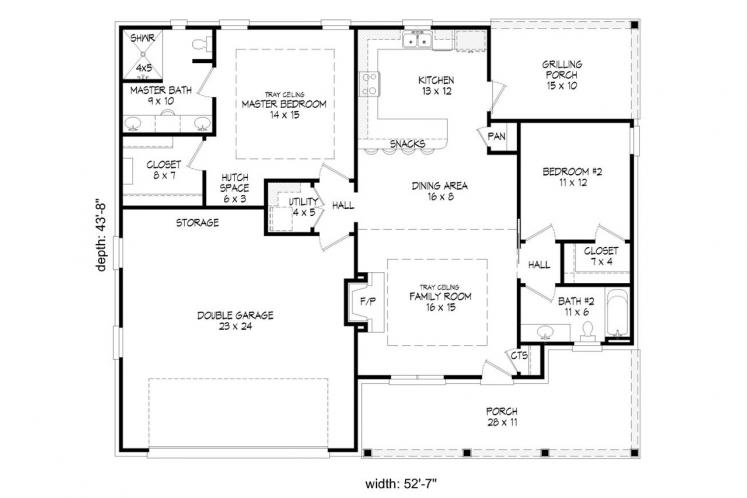 Southern House Plan -  10016 - 1st Floor Plan