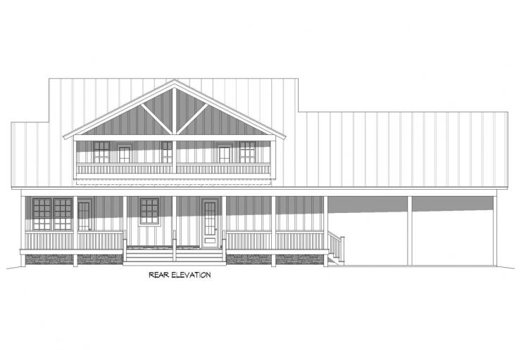 Country House Plan - Grand Bay 10134 - Rear Exterior