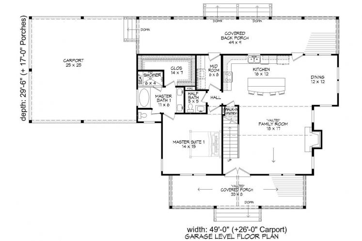 Craftsman House Plan - Grand Bay 10134 - 1st Floor Plan