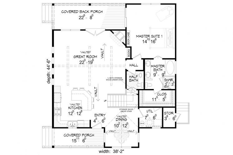 Country House Plan -  10195 - 1st Floor Plan
