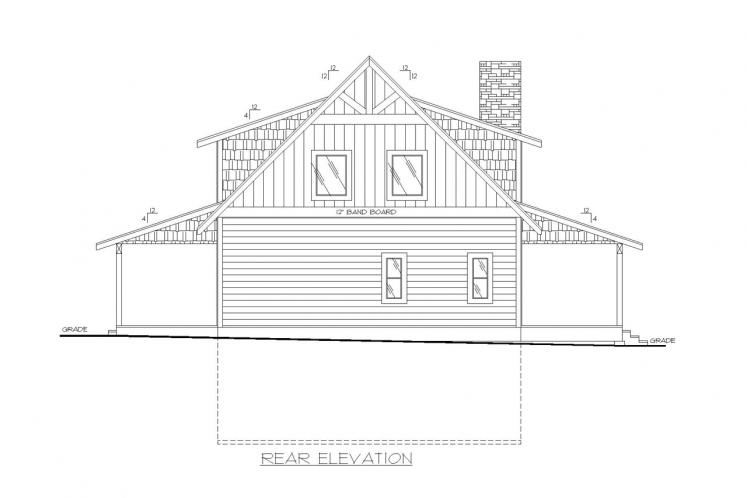 Lodge Style House Plan -  10613 - Rear Exterior