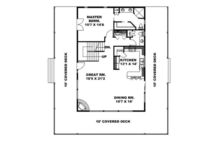 Lodge Style House Plan -  10613 - 1st Floor Plan
