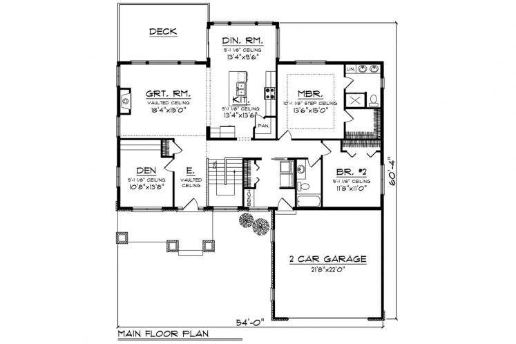 Traditional House Plan -  10864 - 1st Floor Plan