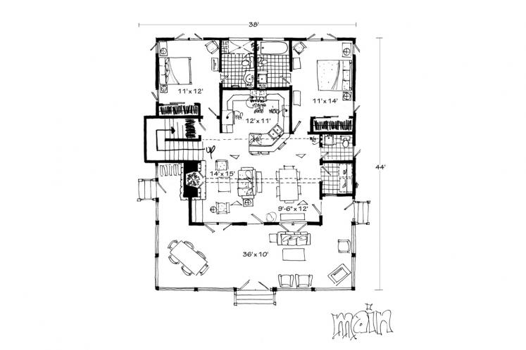 Farmhouse House Plan - Bunkhouse II 10932 - 1st Floor Plan