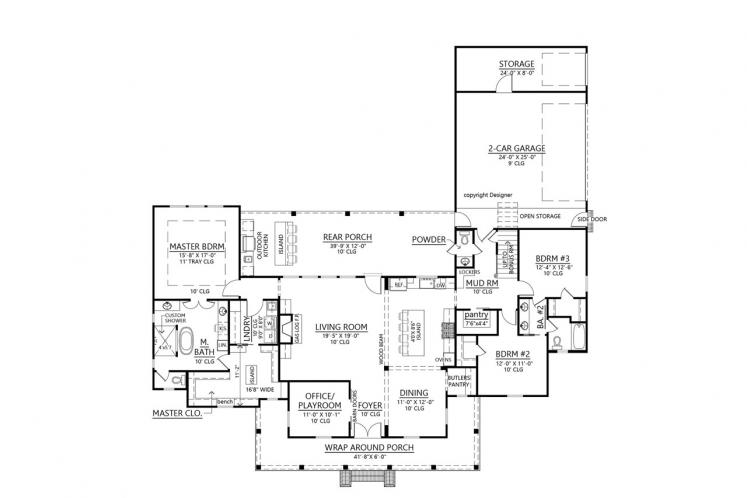 Southern House Plan - Rosewood Farmhouse 11228 - 1st Floor Plan