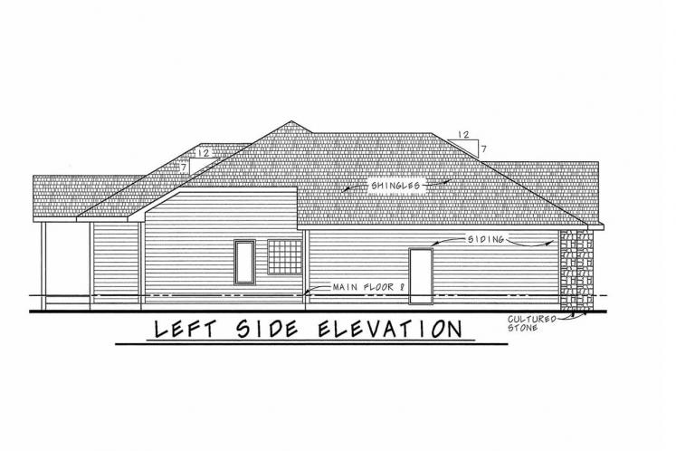 Ranch House Plan - Elway 11348 - Left Exterior