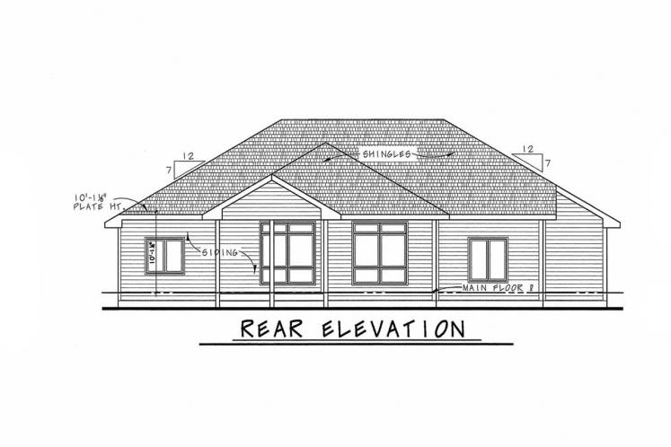 Traditional House Plan - Elway 11348 - Rear Exterior
