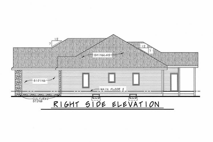 Country House Plan - Elway 11348 - Right Exterior