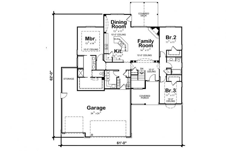 Traditional House Plan - Elway 11348 - 1st Floor Plan