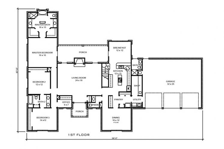 Classic House Plan - Coleman 11355 - 1st Floor Plan