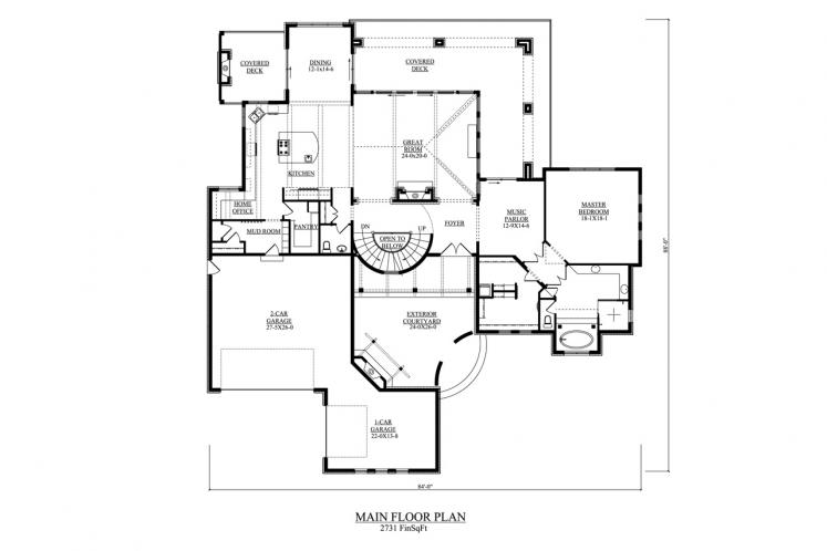 Southwest House Plan - Toscana 11462 - 1st Floor Plan