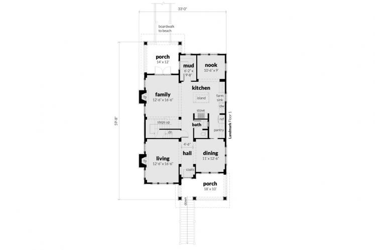 Craftsman House Plan -  11634 - 1st Floor Plan