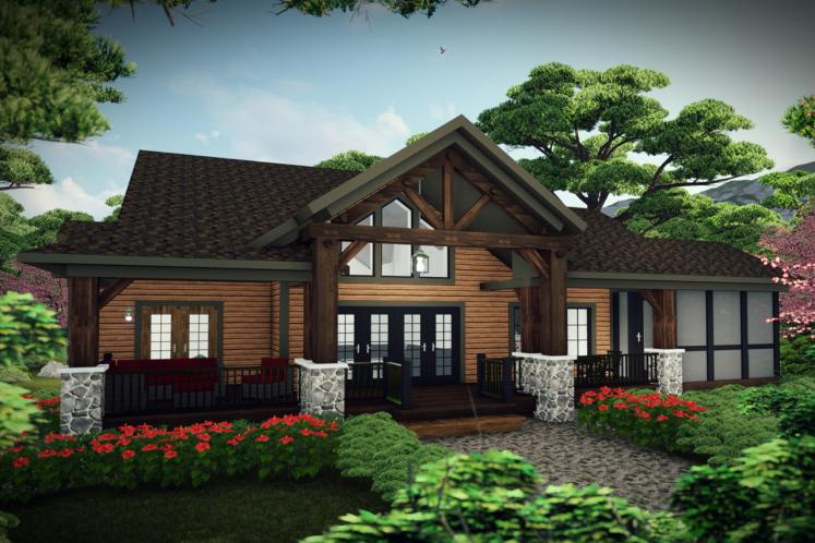 Lodge Style House Plan -  11660 - Rear Exterior