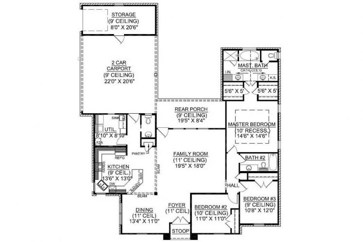 Classic House Plan - Bellaire 11784 - 1st Floor Plan