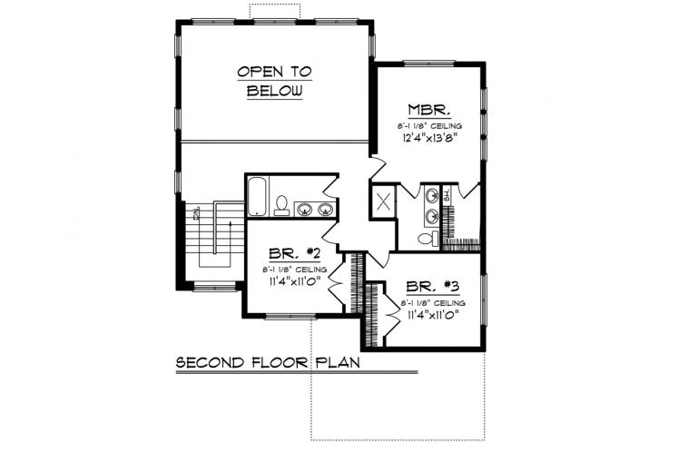 Bungalow House Plan -  11895 - 2nd Floor Plan
