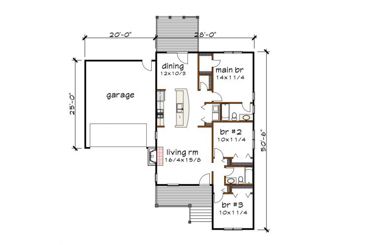 Country House Plan -  11990 - 1st Floor Plan