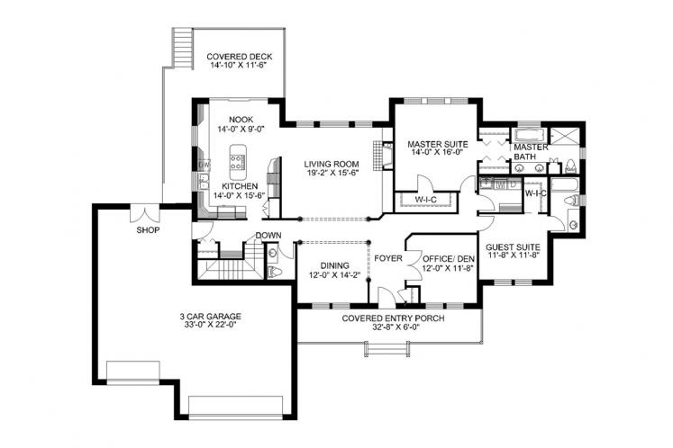 Traditional House Plan -  12048 - 1st Floor Plan