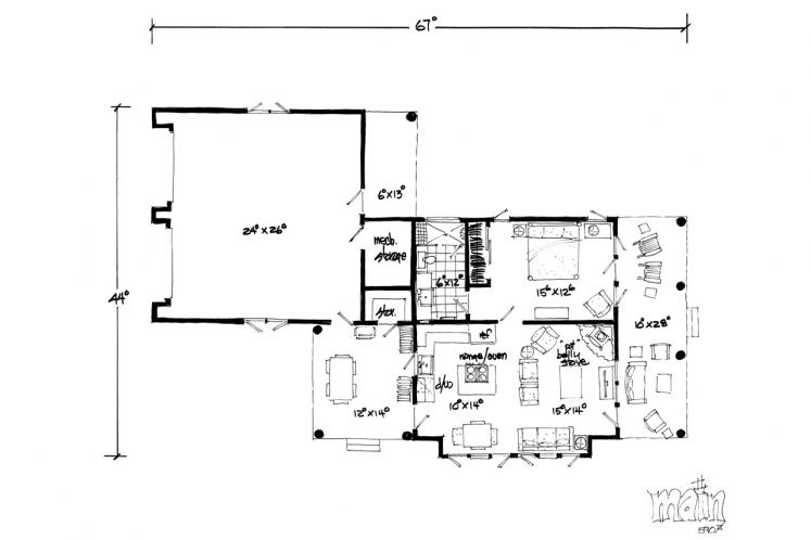 Ranch House Plan - Timbervail 12262 - 1st Floor Plan