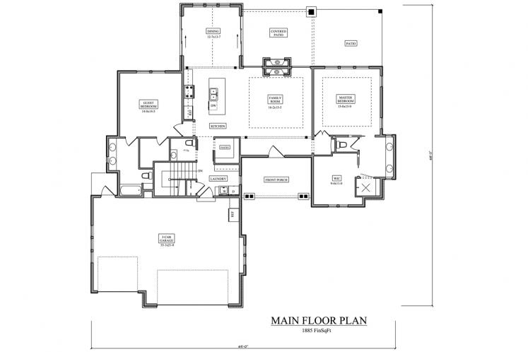 European House Plan - Dorchester 12313 - 1st Floor Plan