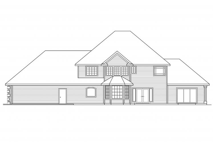 Traditional House Plan - Kersley 12358 - Rear Exterior