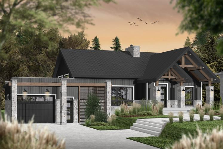 Craftsman House Plan - Olympe 3 12408 - Front Exterior