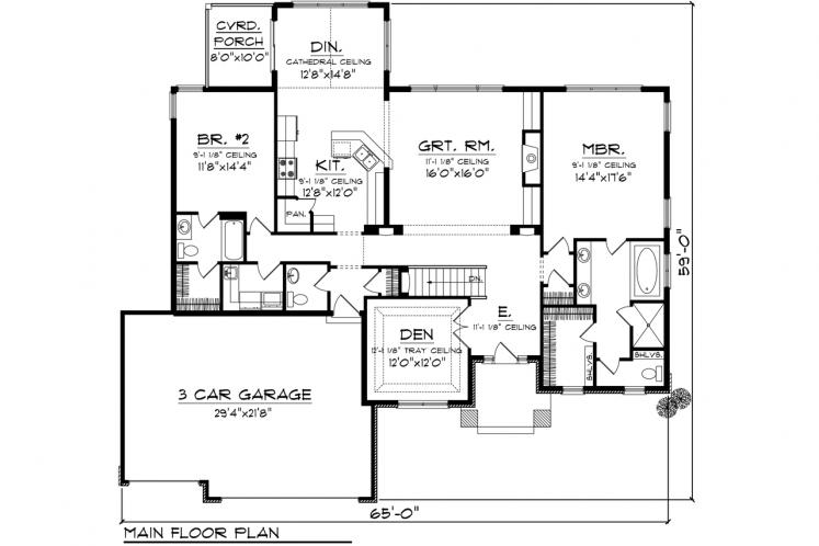 Traditional House Plan -  12468 - 1st Floor Plan