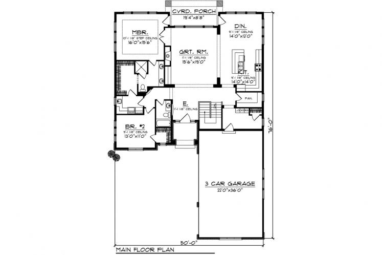 Spanish House Plan -  12914 - 1st Floor Plan