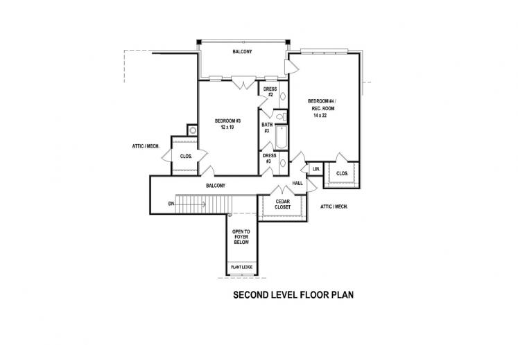 European House Plan -  13042 - 2nd Floor Plan
