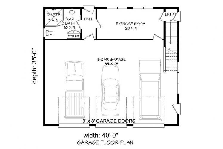 Country Garage Plan -  13140 - 1st Floor Plan