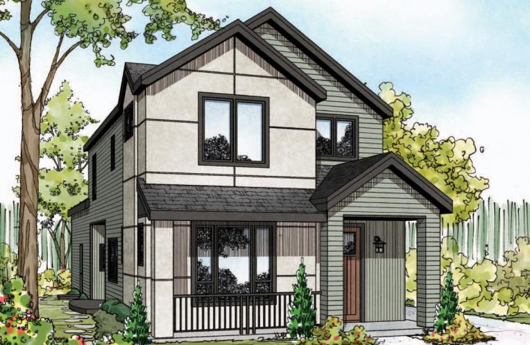 Contemporary House Plan - Larkspur II 13379 - Front Exterior