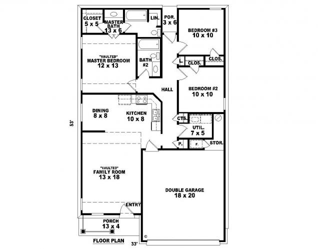 Cottage House Plan -  13438 - 1st Floor Plan