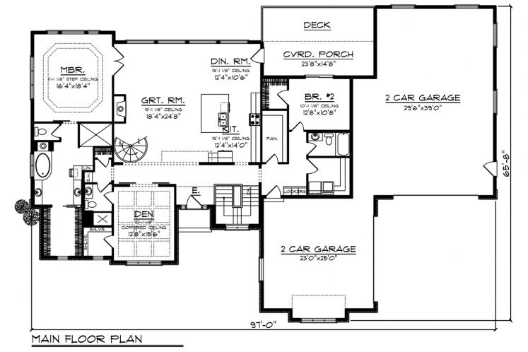 Ranch House Plan -  13616 - 1st Floor Plan