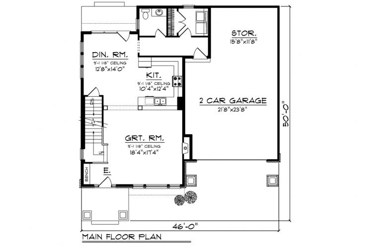 Traditional House Plan -  13661 - 1st Floor Plan