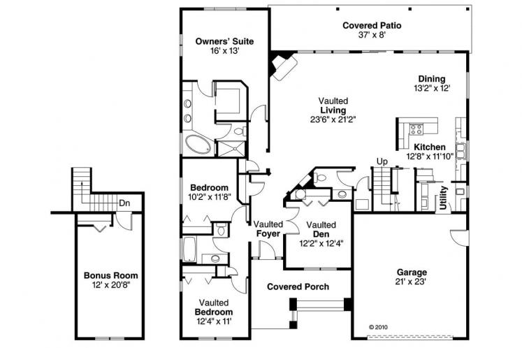 Bungalow House Plan - Greenleaf 14035 - 1st Floor Plan