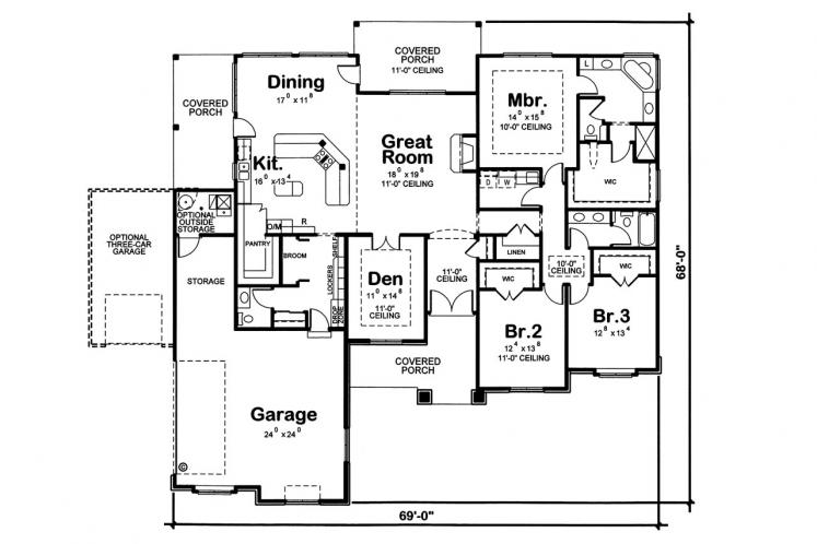 Craftsman House Plan - Zinnia 14063 - 1st Floor Plan