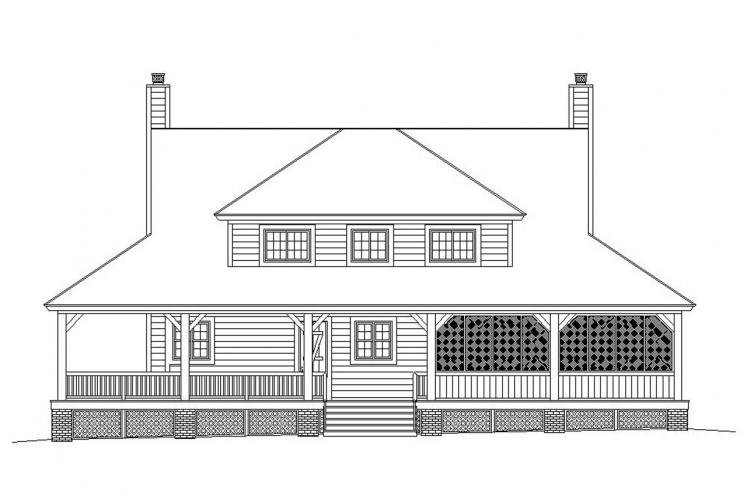 Lodge Style House Plan -  14175 - Rear Exterior