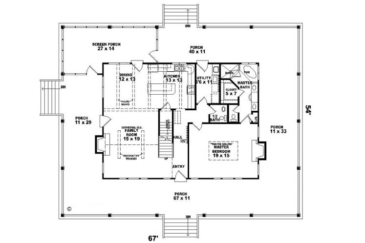 Lodge Style House Plan -  14175 - 1st Floor Plan