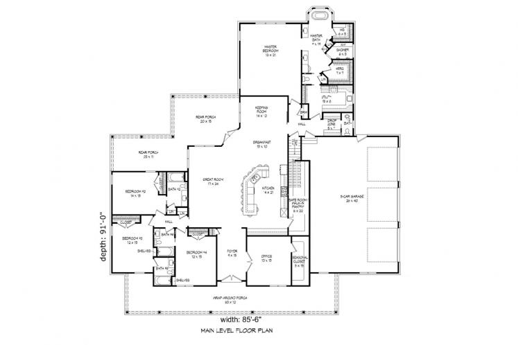 Country House Plan -  14328 - 1st Floor Plan