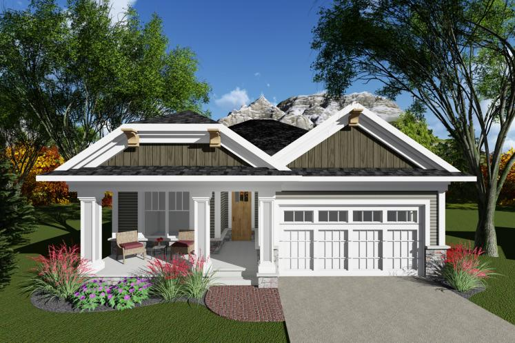 Ranch House Plan -  14382 - Front Exterior