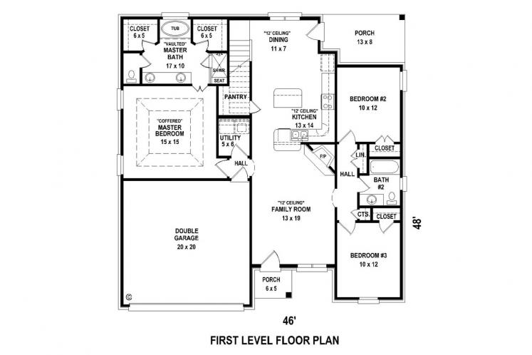 Ranch House Plan -  14690 - 1st Floor Plan