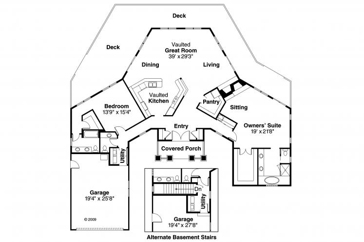 Lodge Style House Plan - McKinley 14762 - 1st Floor Plan