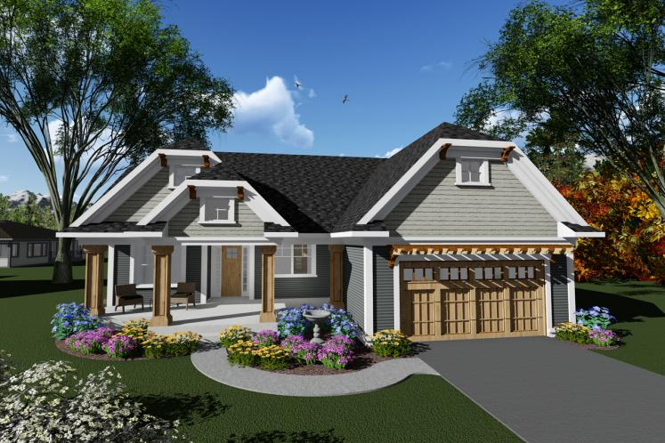Craftsman House Plan -  14902 - Front Exterior
