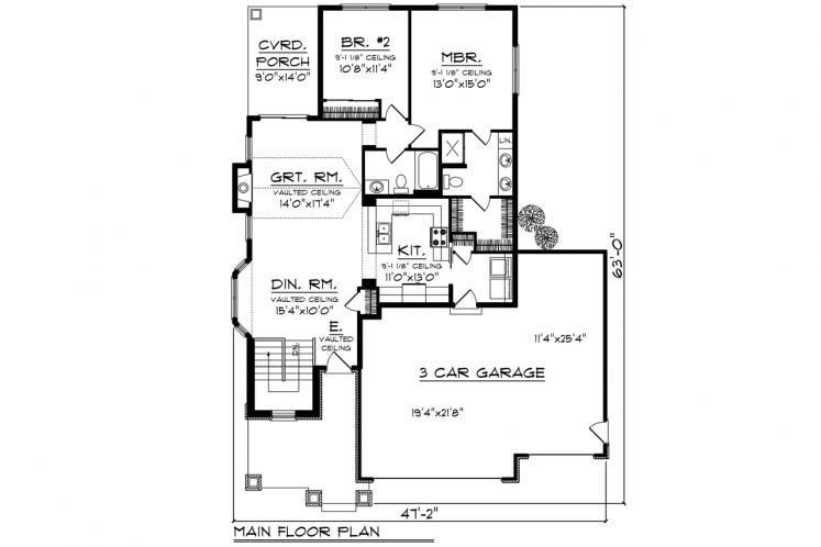 Ranch House Plan -  14924 - 1st Floor Plan